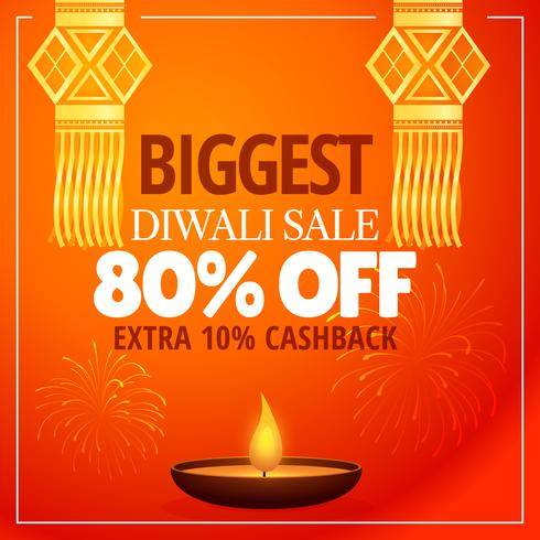 diwali sale offer with hanging lamps, diya and fireworks