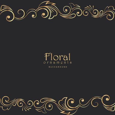beautiful golden floral border on black background