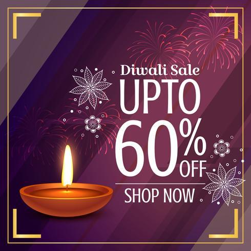 amazing diwali sale discount with glowing diya