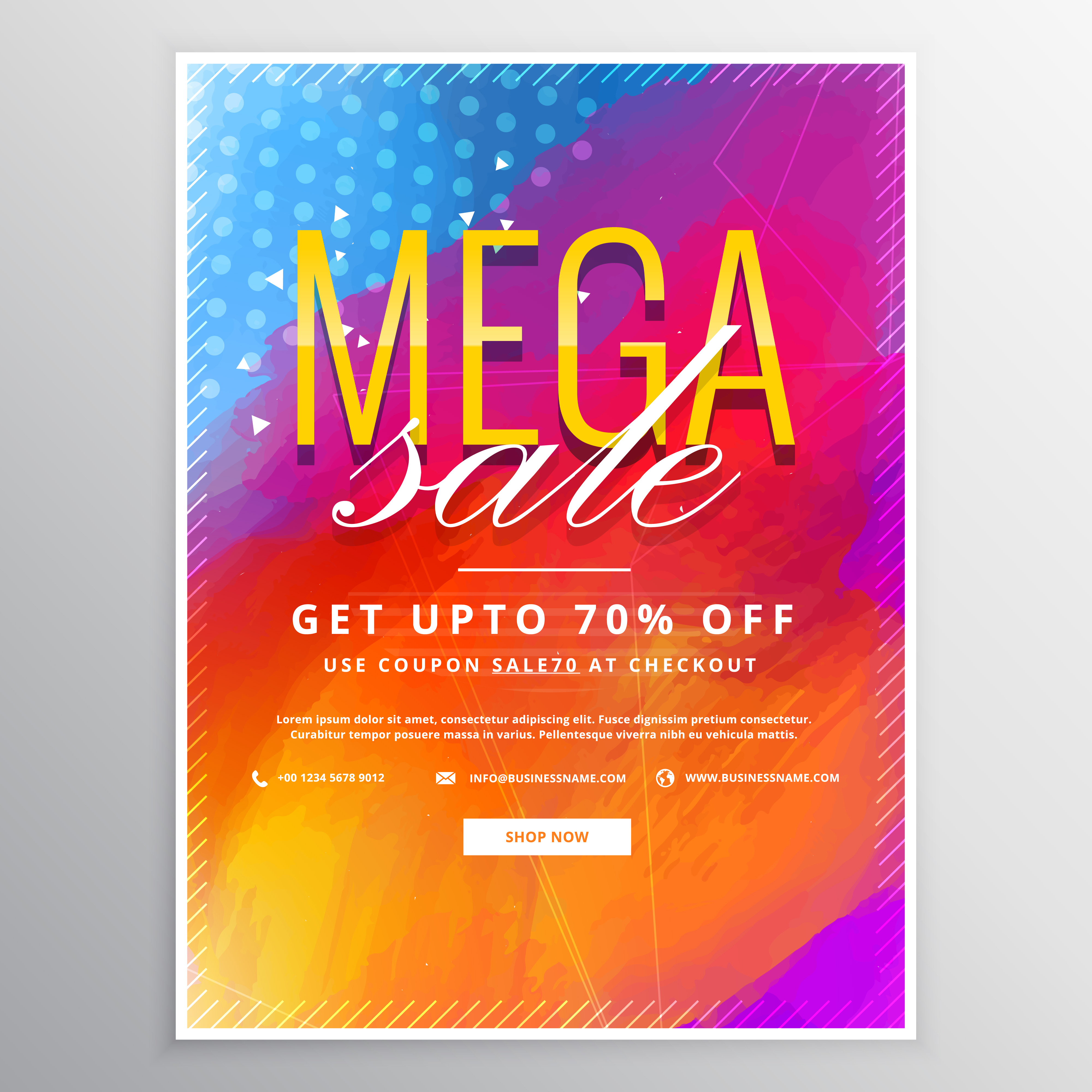 mega sale brochure card with colorful paint background ...