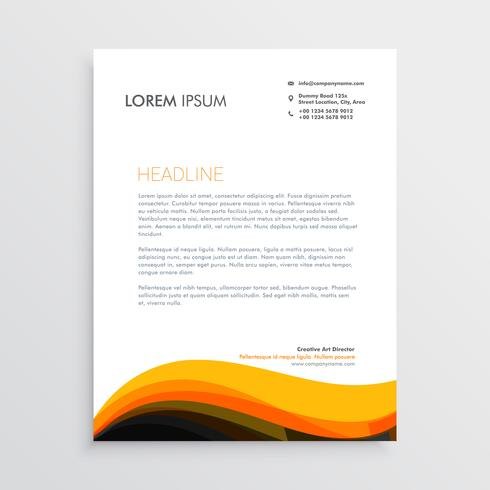 stylish letterhead design with yellow wave design