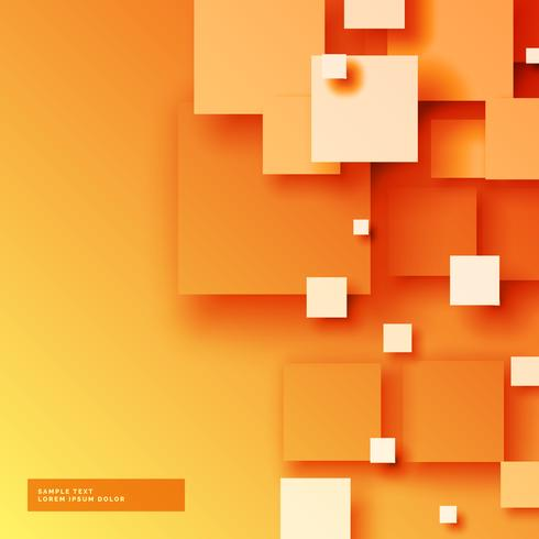 elegant bright orange background with 3d sqaures