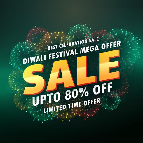 diwali sale banner poster with fireworks