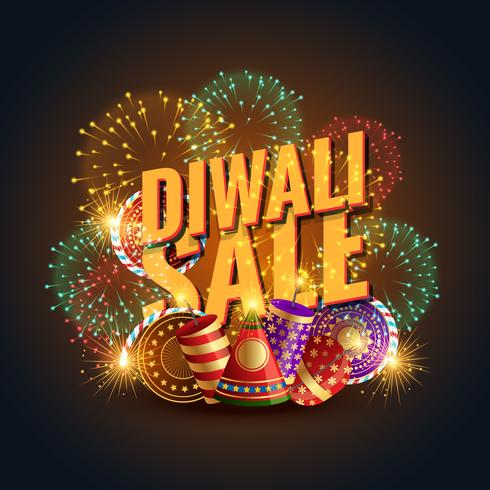 diwali sale banner voucher with crackers and fireworks