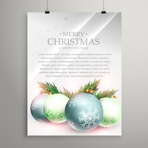 christmas greeting card template flyer with realistic festival b