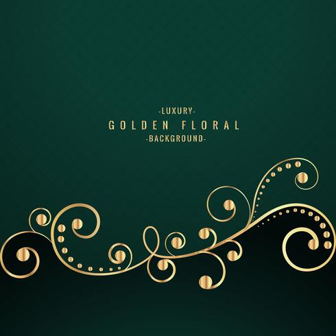 Golden Floral Design On Green Background