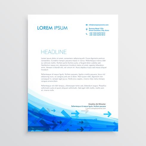 blue letterhead design template with arrows