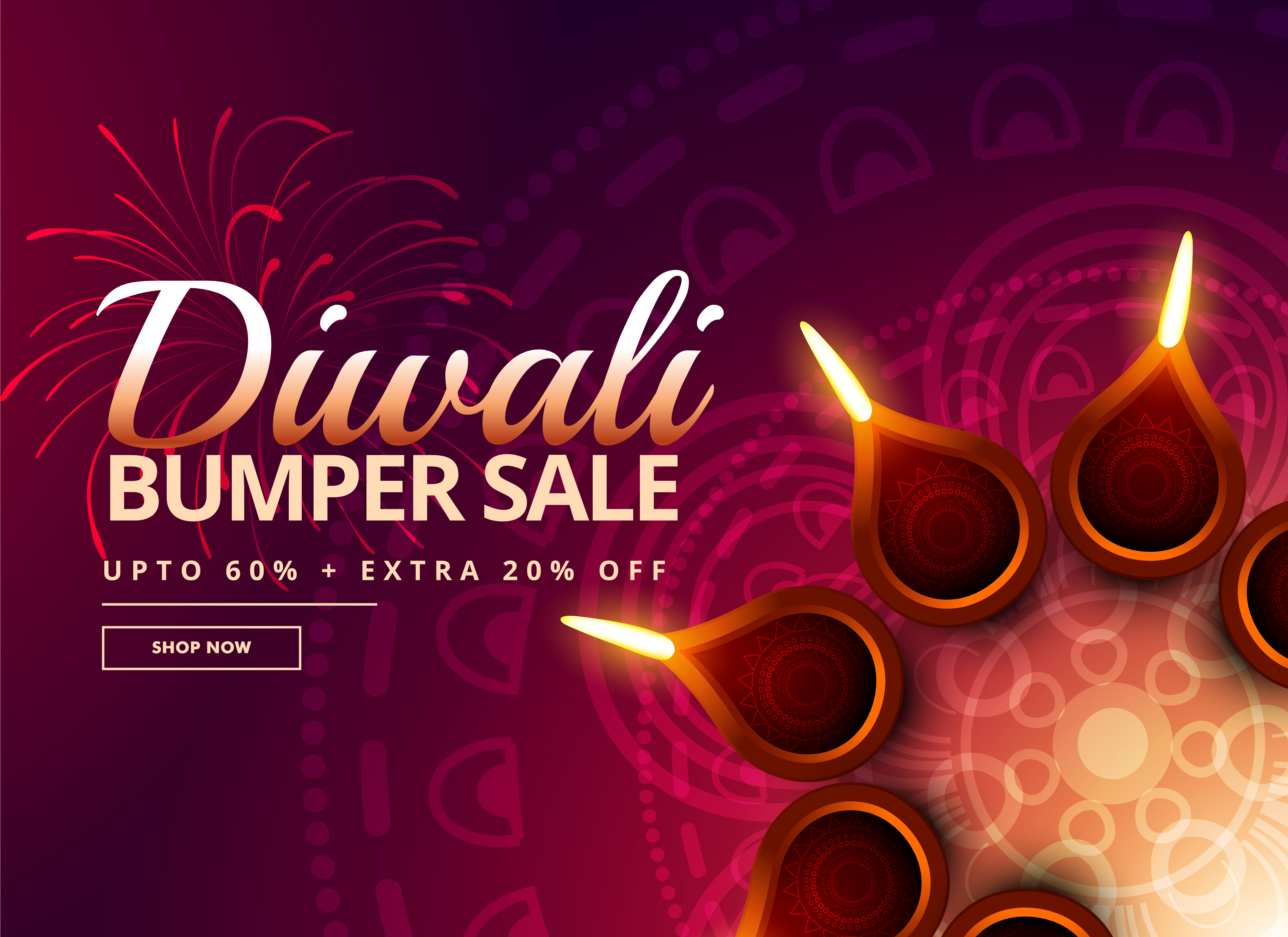 Diwali Sale With Diya Decoration
