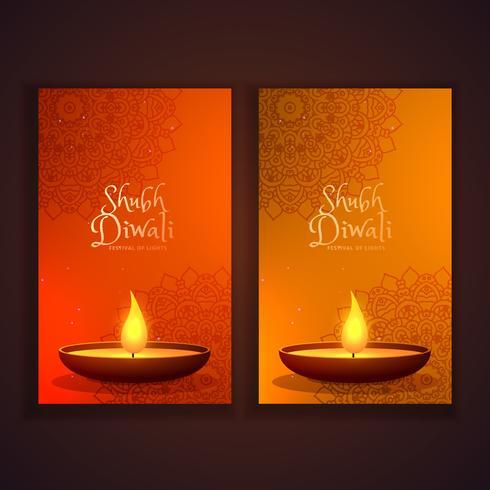 shubh diwali vertical banners set
