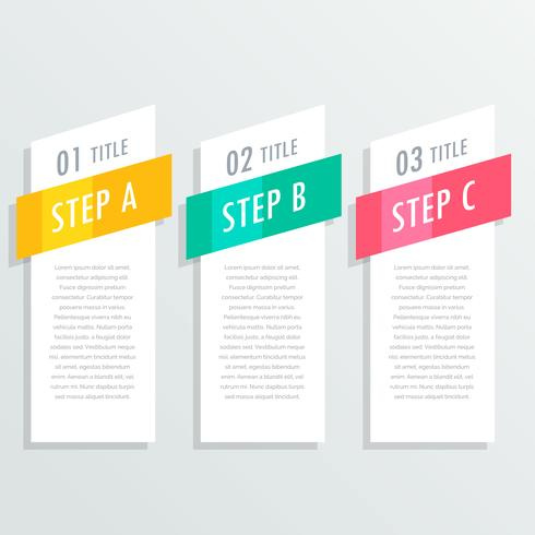 three steps vertical white banners