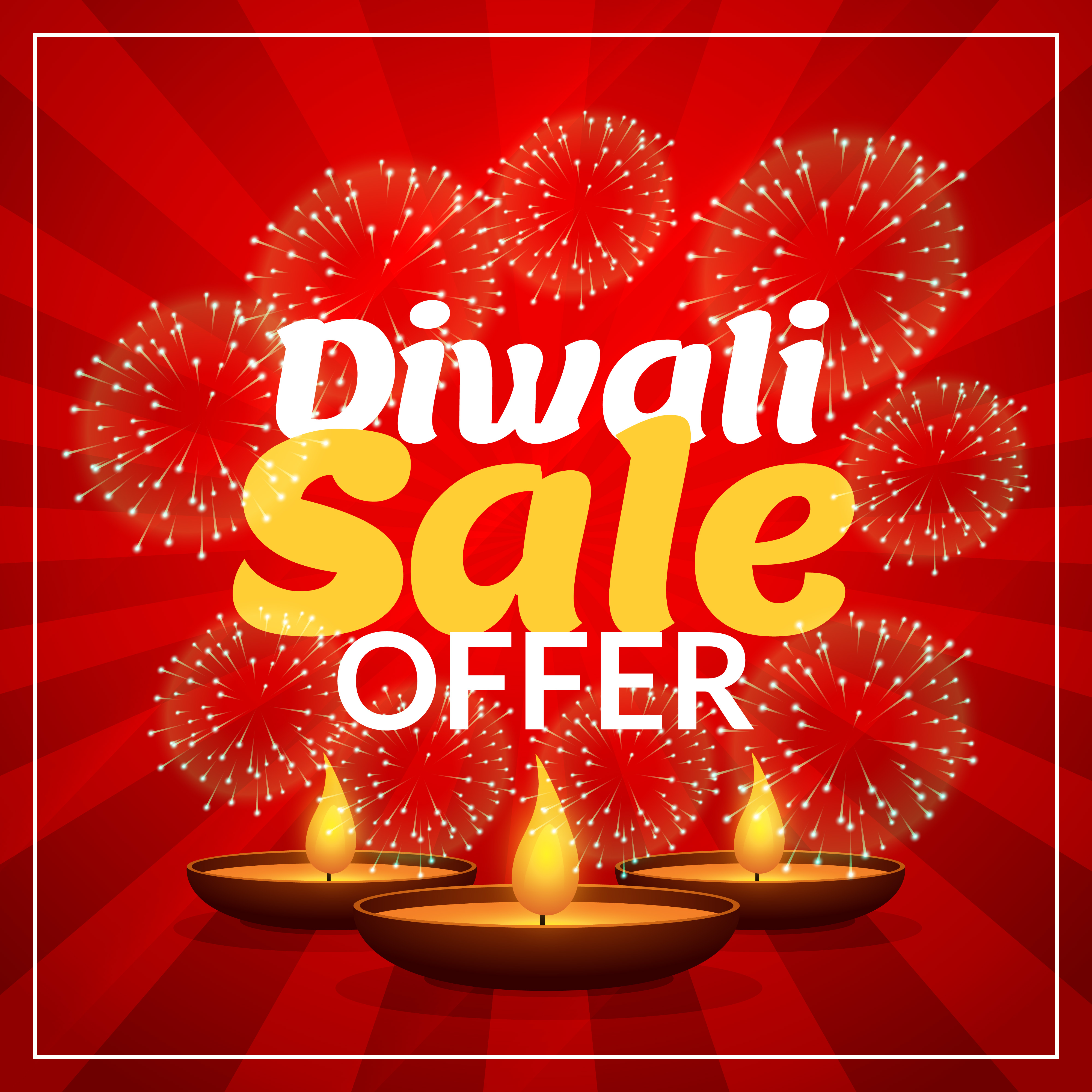diwali sale offer discount marketing template with diya and fire download free vector art stock graphics images