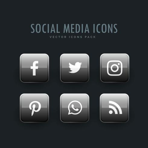 gray social network icons in button style