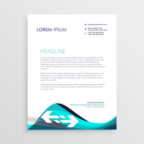 elegant blue and gray waves letterhead design