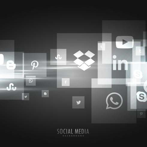 dark background with social media icons
