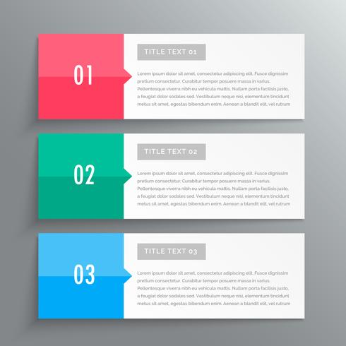 infographic banners showing three steps for your data