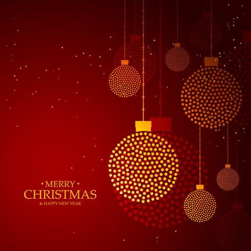 red background made with golden christmas balls decoration