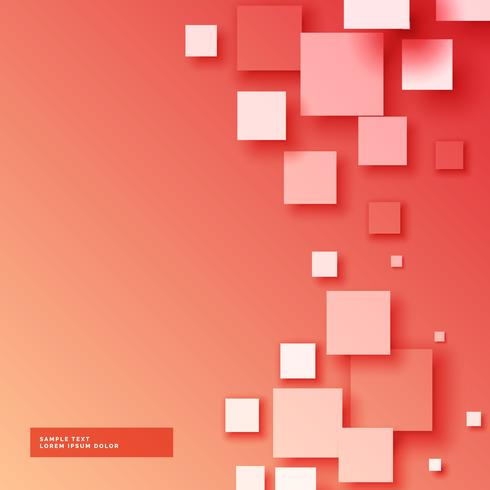 beautiful red background with 3d squared