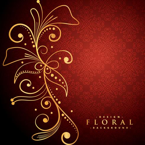 Golden Floral On Red Background Download Free Vector Art Stock
