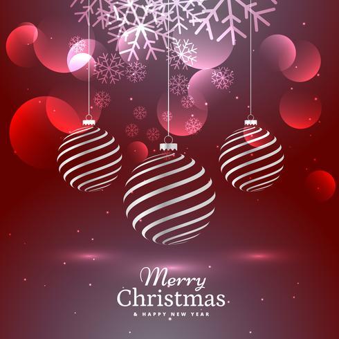 brillant élégant trois décoration de boules de Noël sur fond rouge