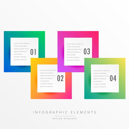 colorful four squares infographic template