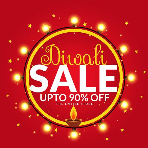 diwali sale and offers banner poster template with diya and ligh
