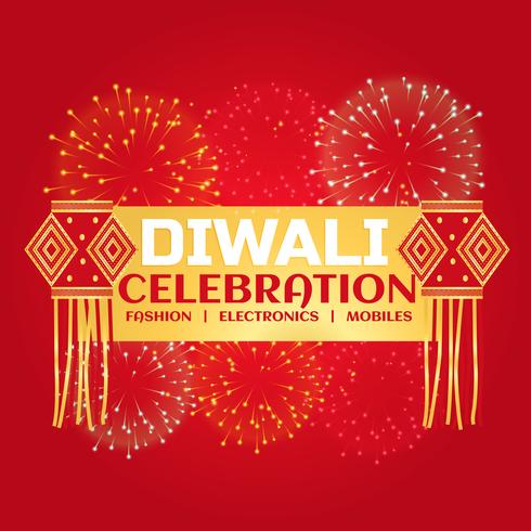diwali celebration sale banner with fireworks and hanging lamps