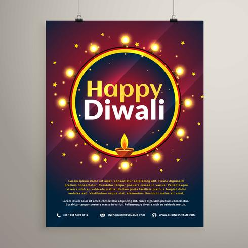 happy diwali festival invitation greeting template