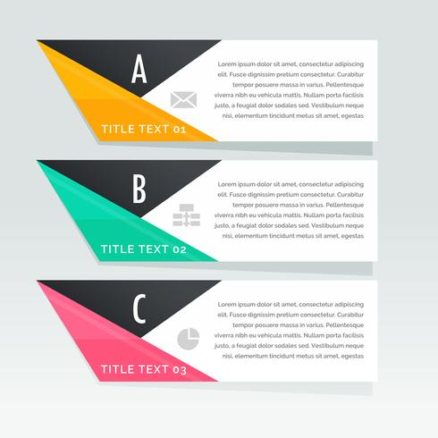 stylish three steps infographic white banners