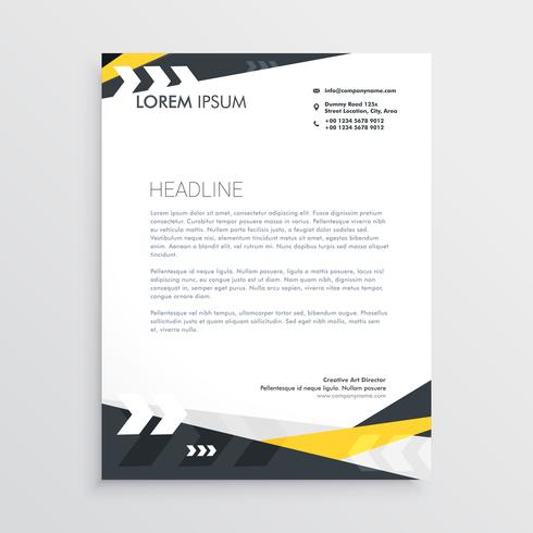 creative letterhead template with yellow and black geometric sha