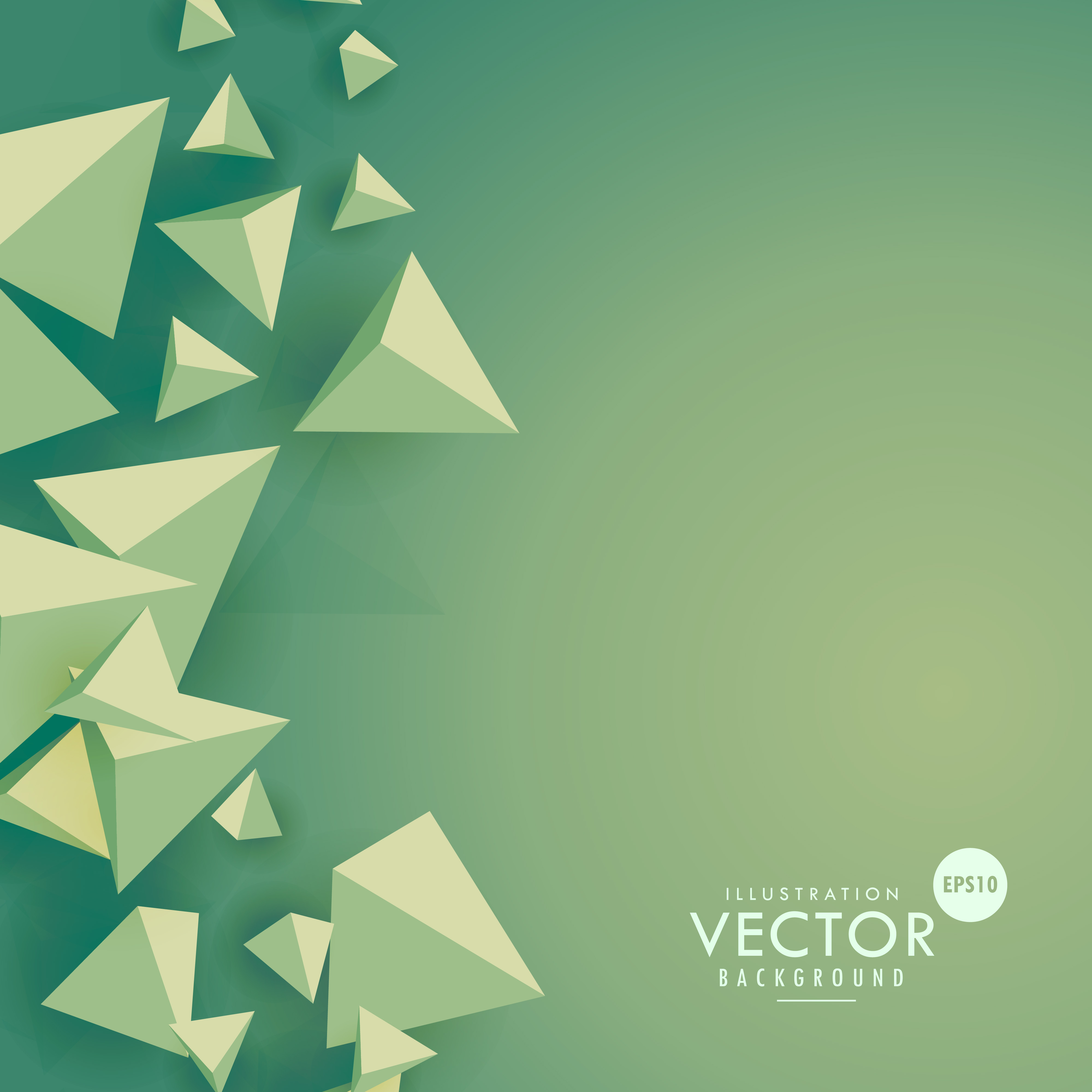 Green Background With 3d Triangle Shapes