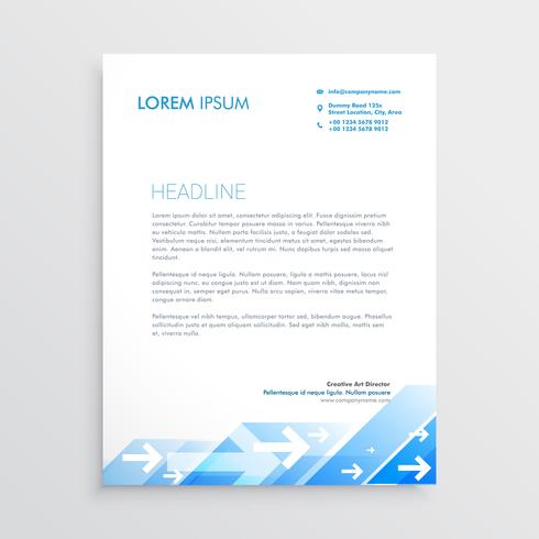 creative letterhead design with abstract blue arrow design
