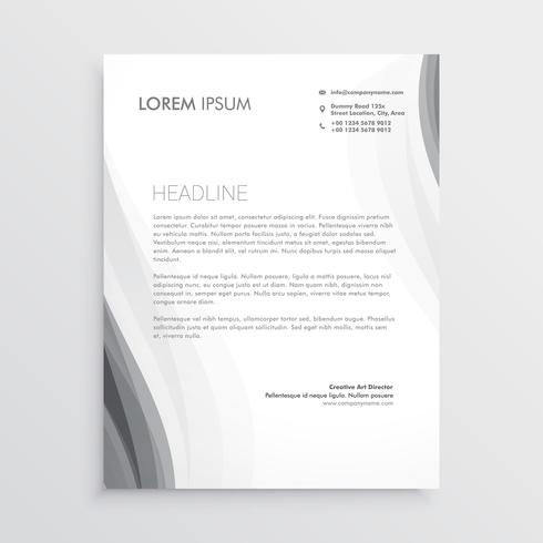 elegant gray wave letterhead abstract design