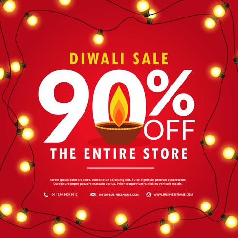 diwali sale poster and banner with lights on red background