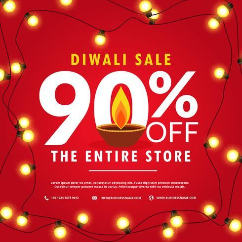 affiche de vente de diwali et bannière avec des lumières sur fond rouge