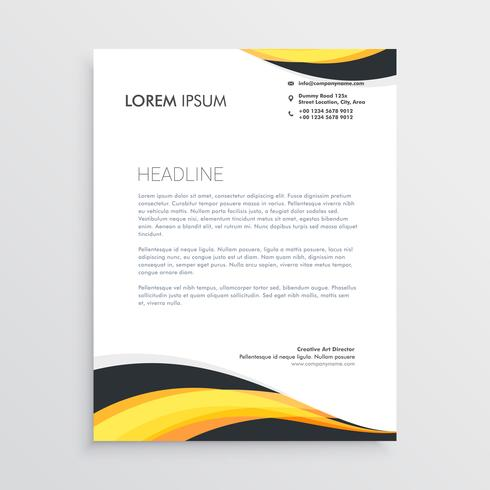 elegant yellow and gray waves letterhead template