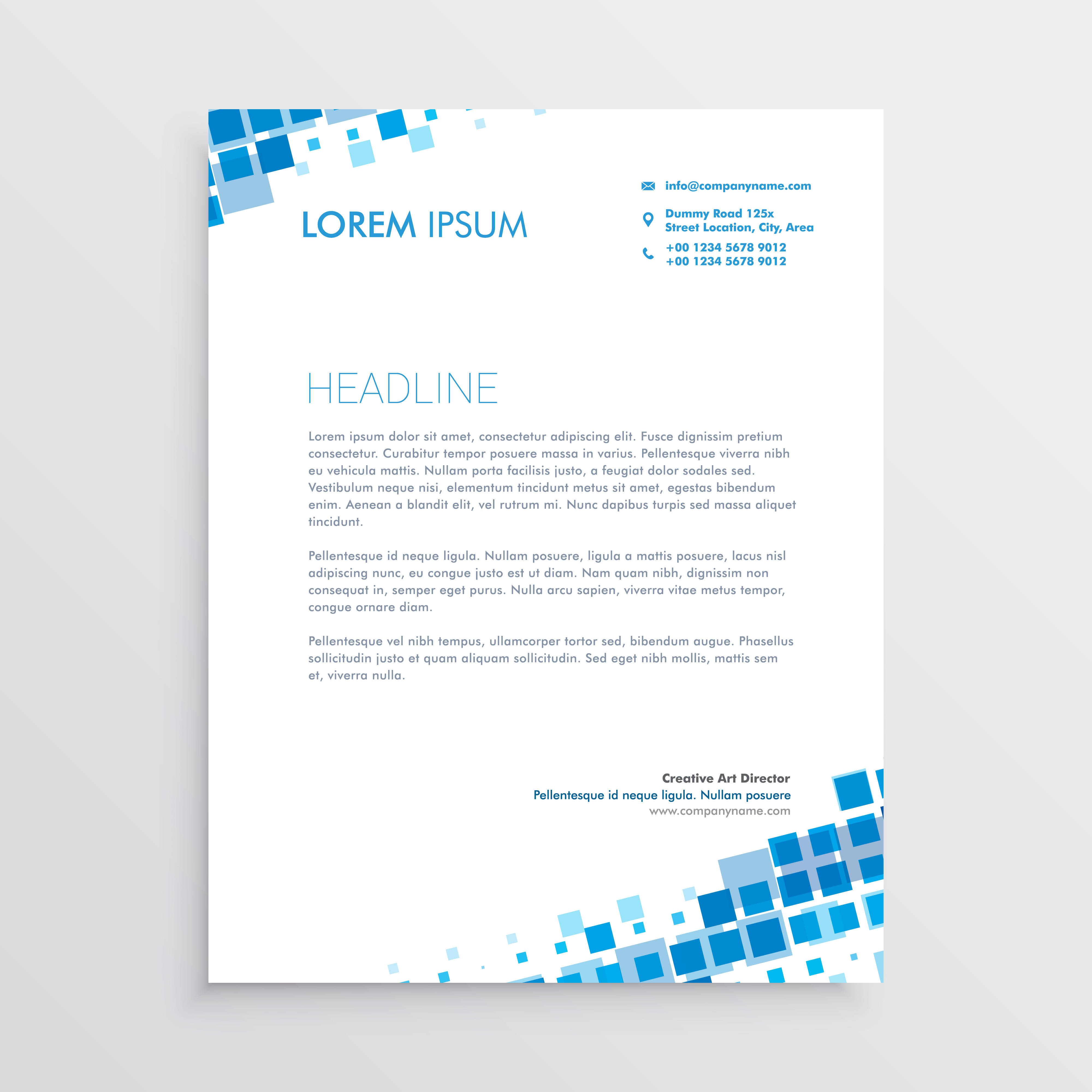 Abstract Letterhead Designs: Abstract Blue Creative Letterhead Design
