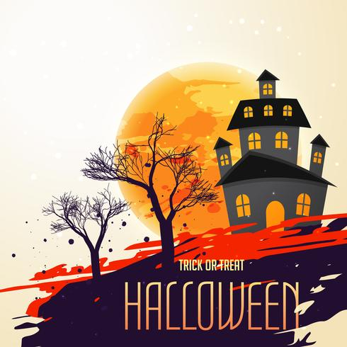 halloween festival background with house and trees