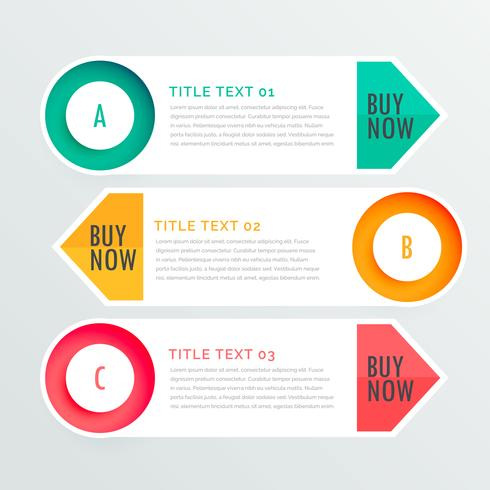 three banner infographic options