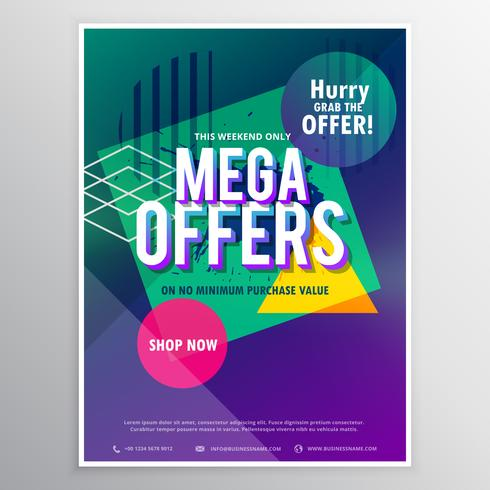 promotional mega sale brochure flyer template with abstract geom