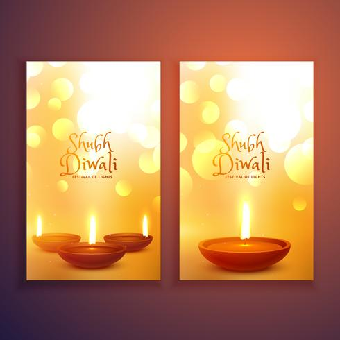 beautiful set of happy diwali greeting card flyers