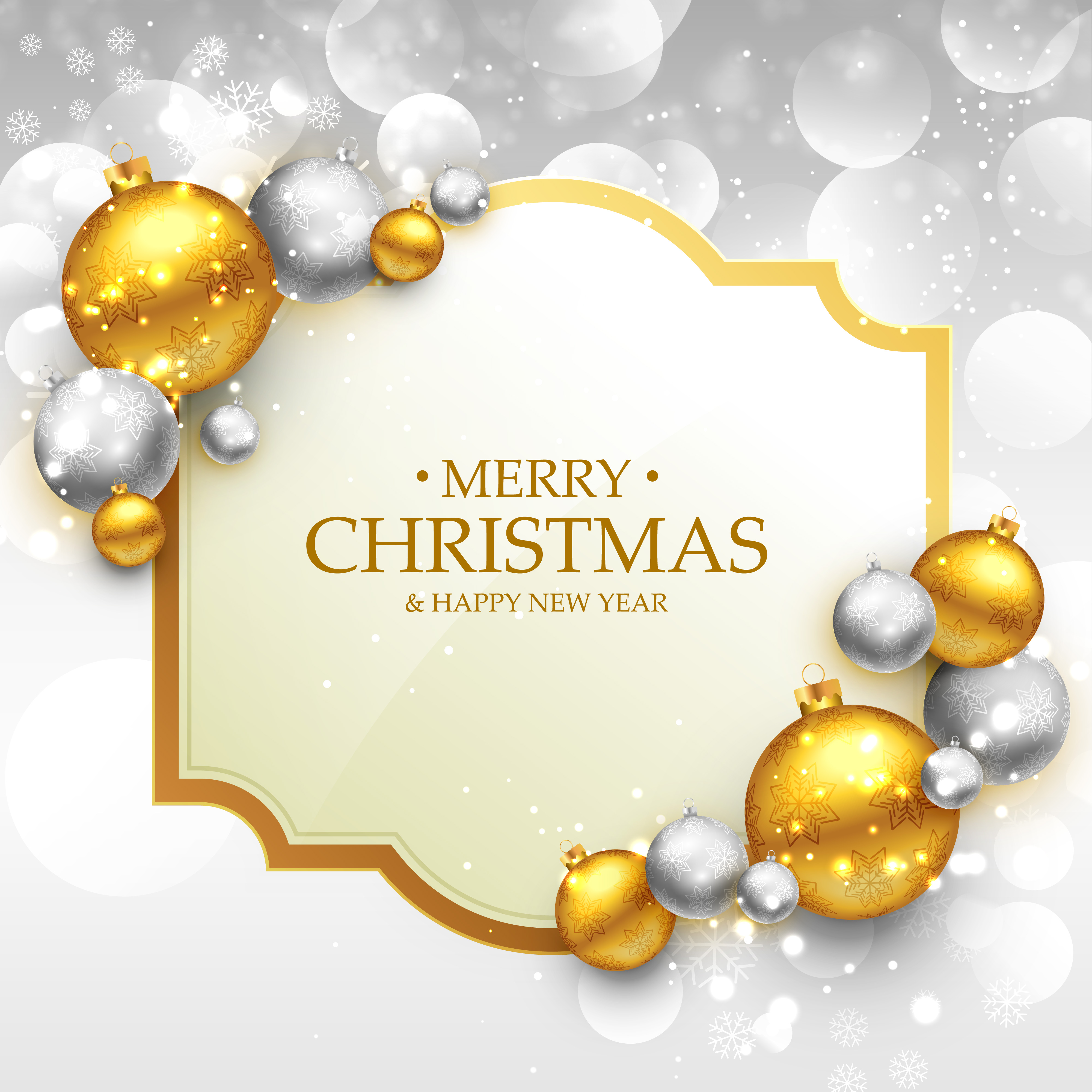 Merry Christmas Greeting Card Template With Gold And Silver Chri