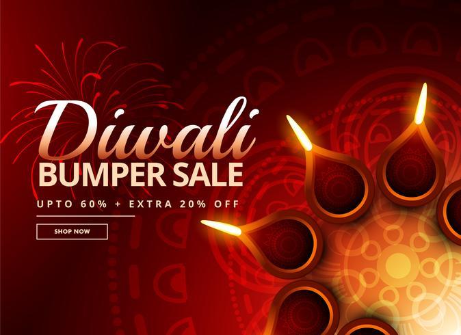 Diwali-Verkaufsgutschein mit schöner Diya-Dekoration