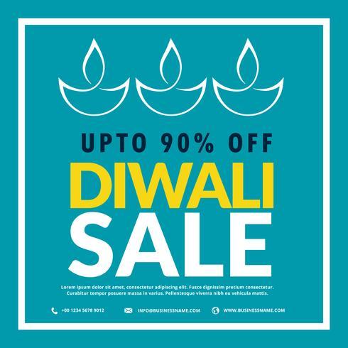 Diwali-Verkaufsfahne mit Diya im blauen Hintergrund