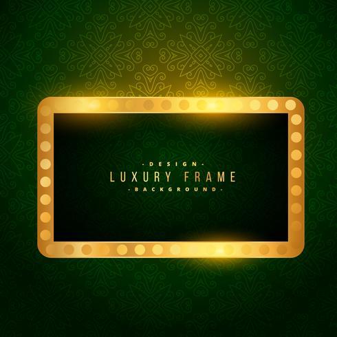 luxury golden frame on green background