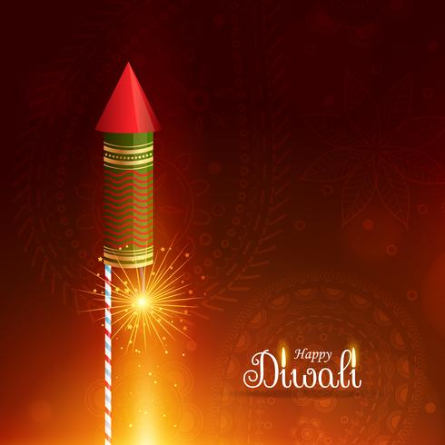 happy diwali greeting background with flying rocket cracker
