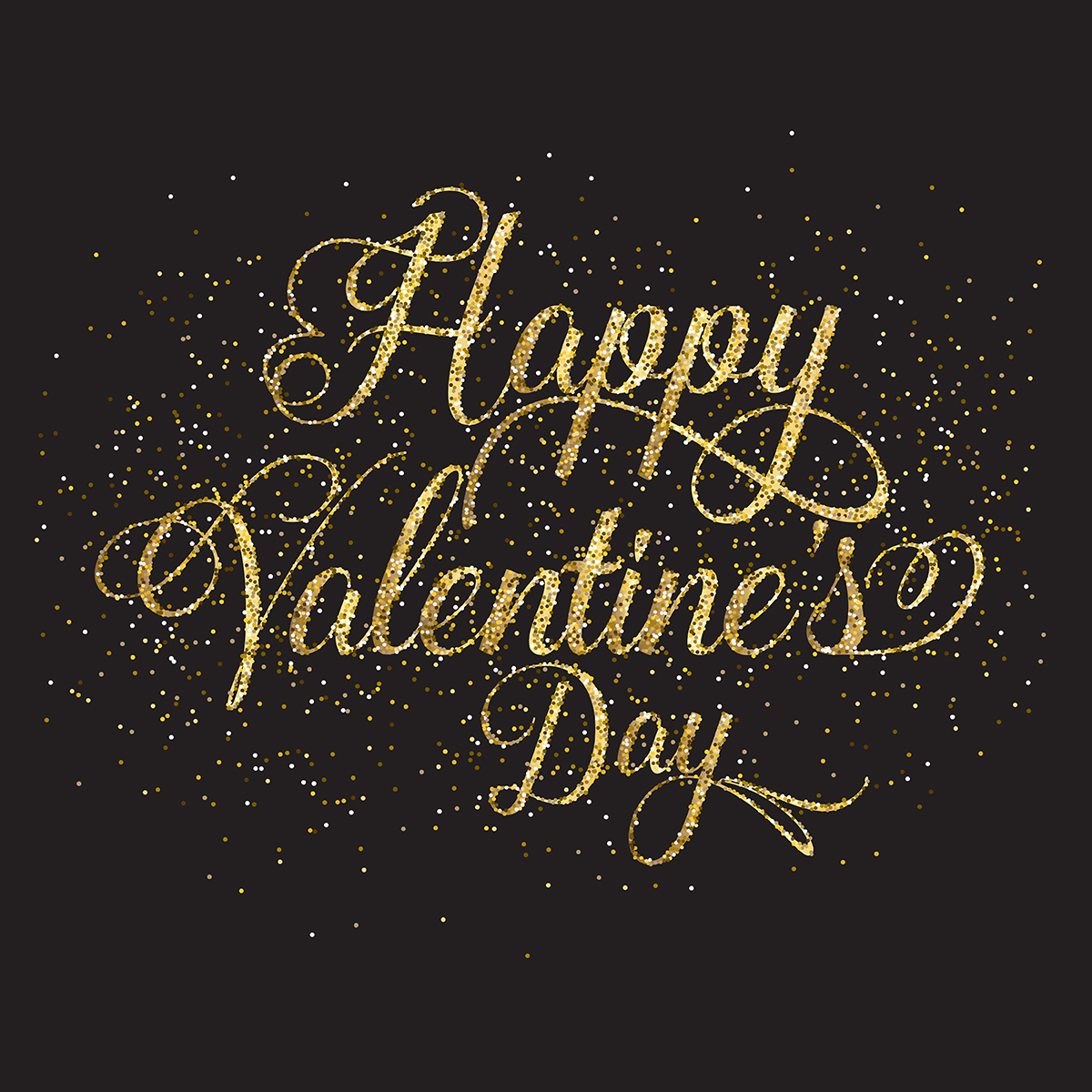 Glitter Gold: Gold Glitter Valentine's Day Text