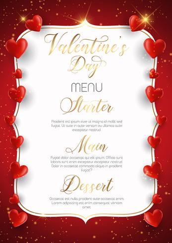 Conception de menu décorative pour la Saint-Valentin vecteur