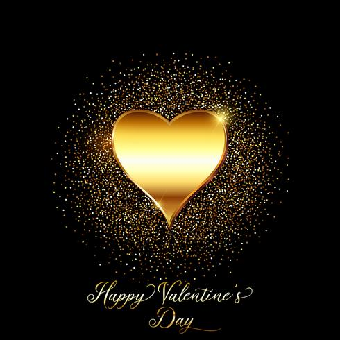 Fond de Saint Valentin paillettes d'or