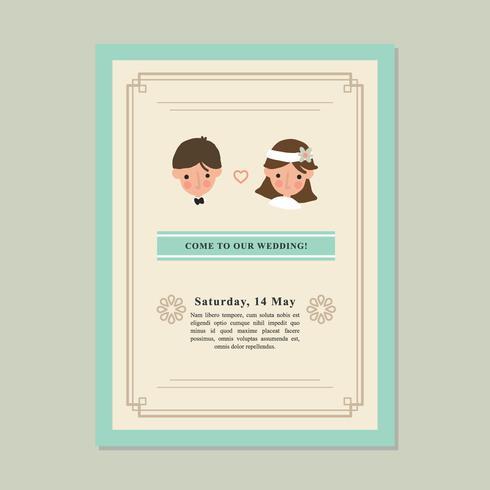 Leuk paar bruiloft uitnodiging vector