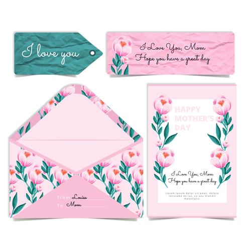 Vector Mother's Day Peonies Card and Envelope